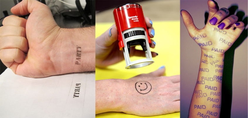 Self-Inking Hand Stamps onto Skin